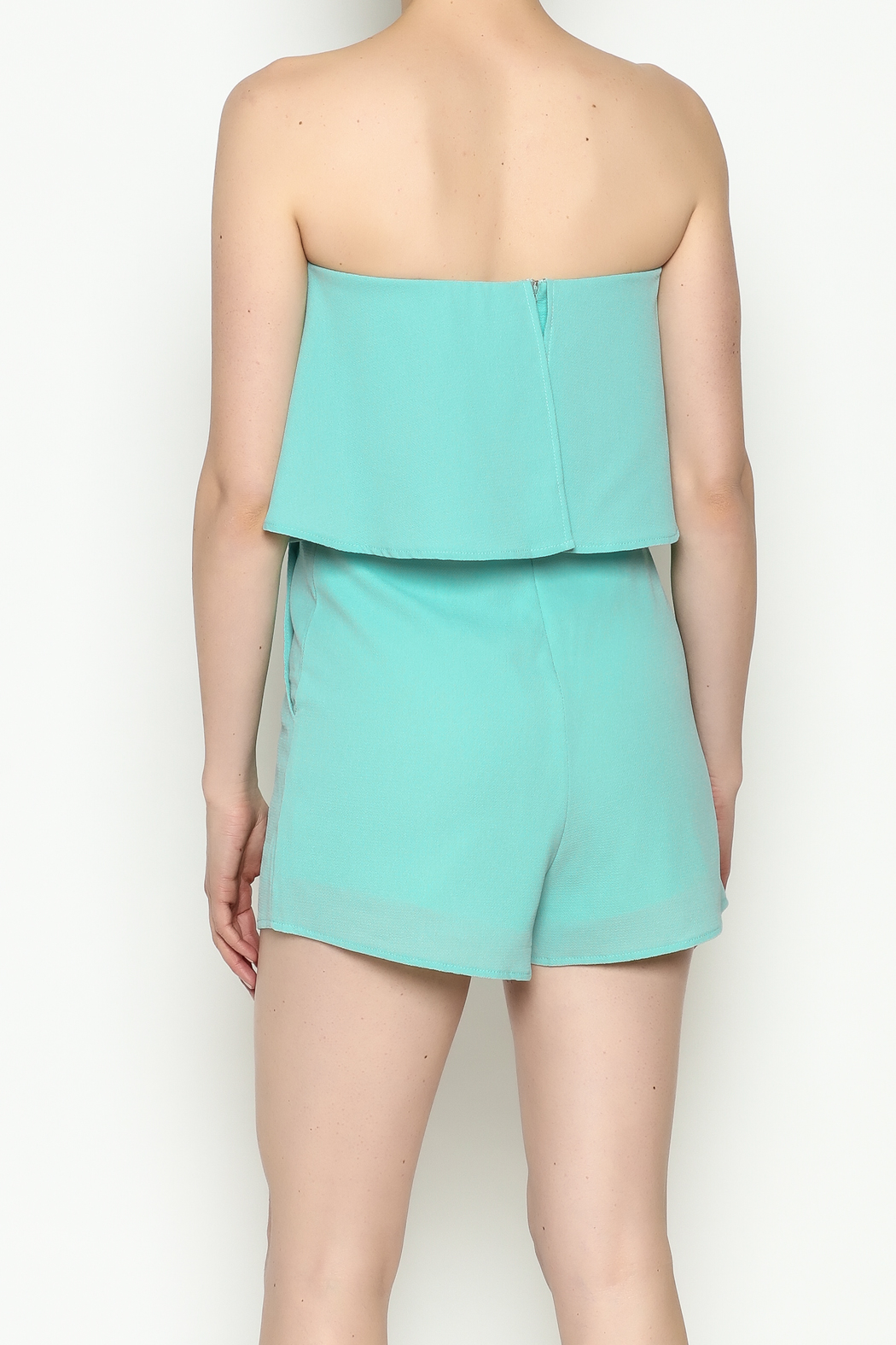 She + Sky Mint Strapless Romper - Back Cropped Image