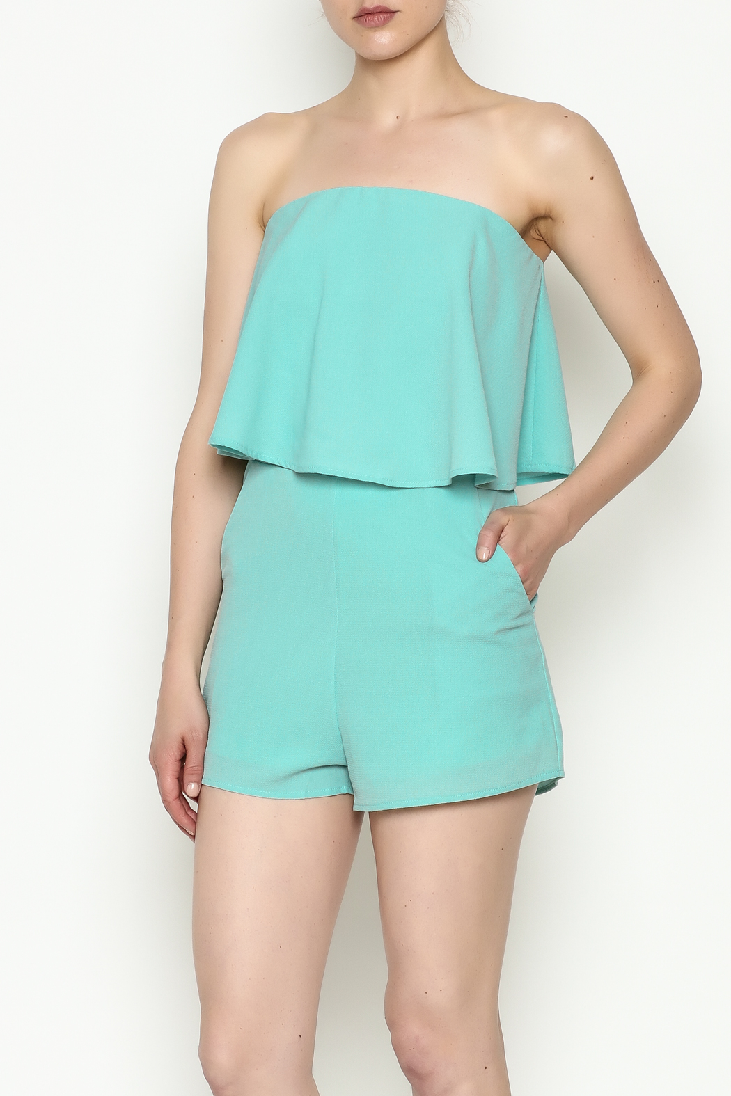 She + Sky Mint Strapless Romper - Front Cropped Image