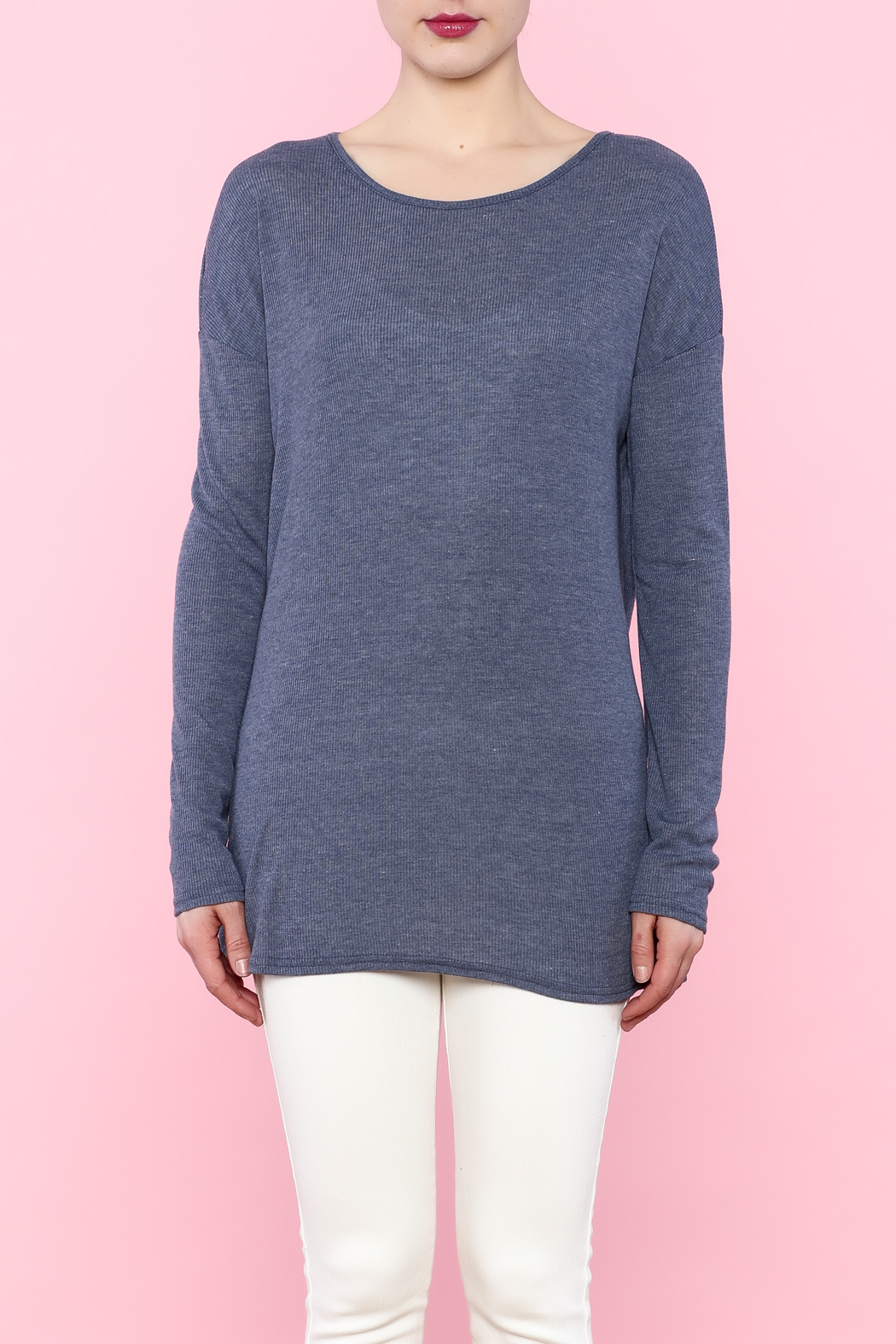 She + Sky Navy Cutout Top - Front Full Image