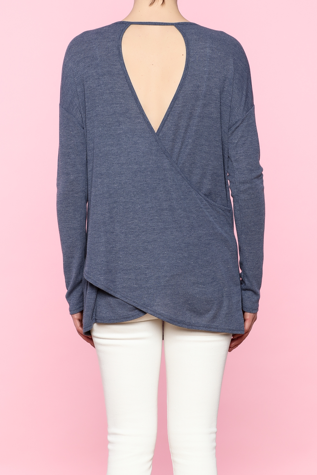 She + Sky Navy Cutout Top - Back Cropped Image