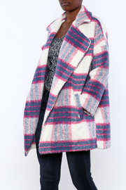 She + Sky Plaid Woven Coat - Front cropped
