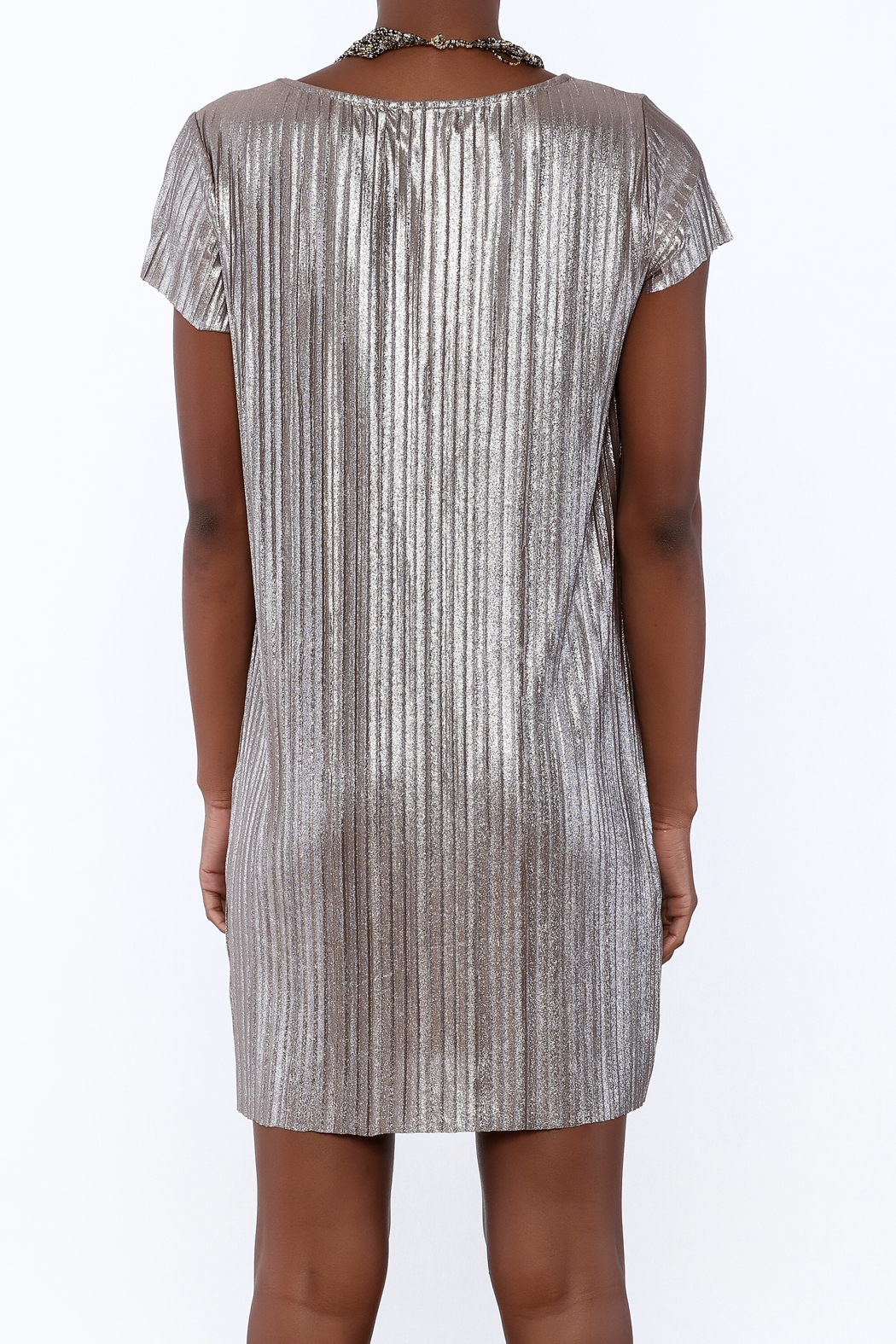 She + Sky Pleated Metallic Dress - Back Cropped Image