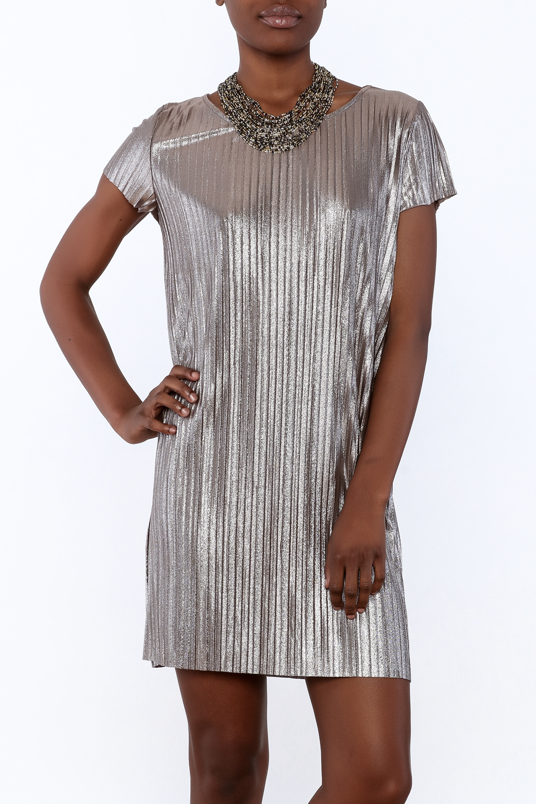 She + Sky Pleated Metallic Dress - Main Image