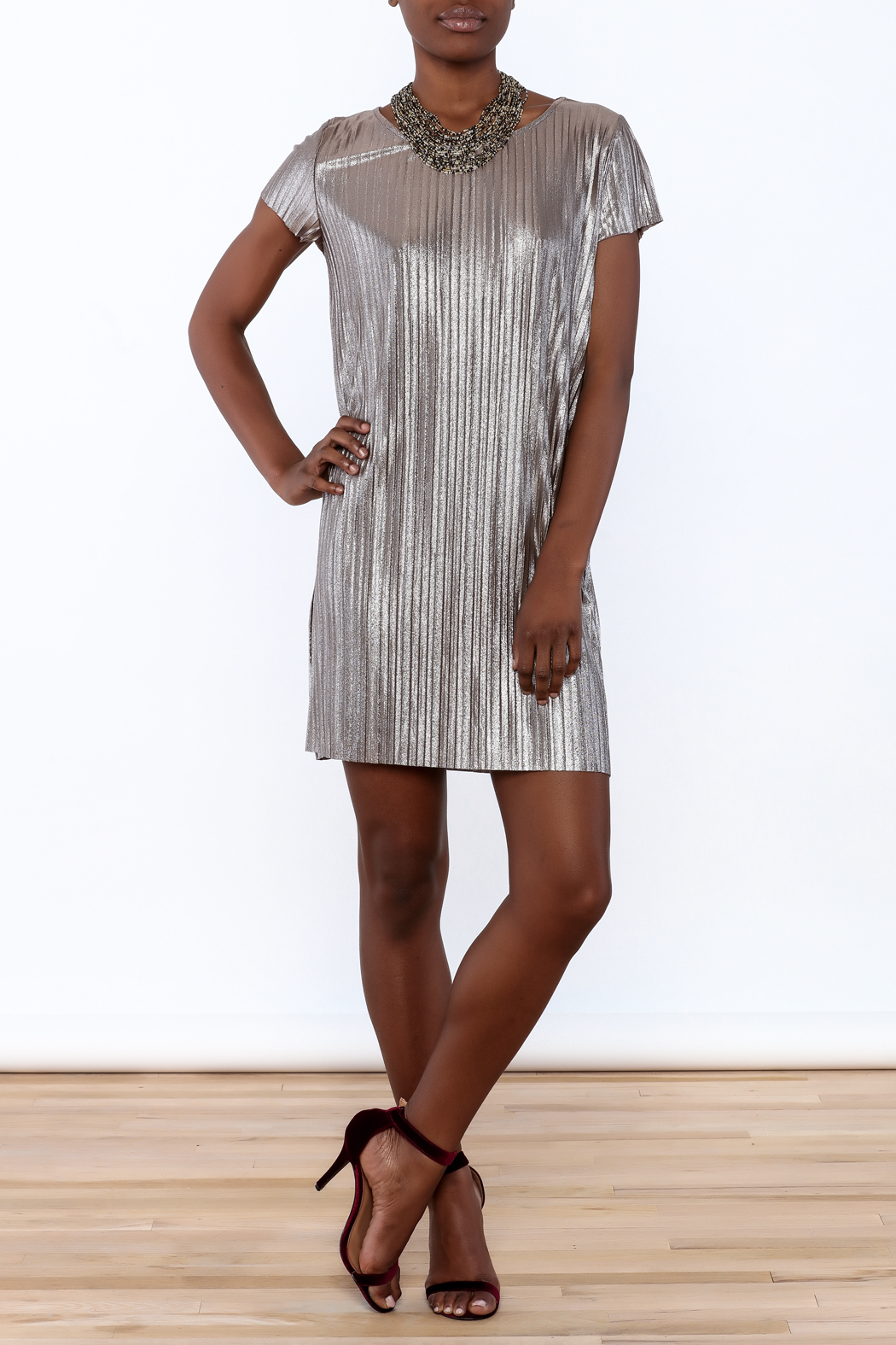 She + Sky Pleated Metallic Dress - Front Full Image