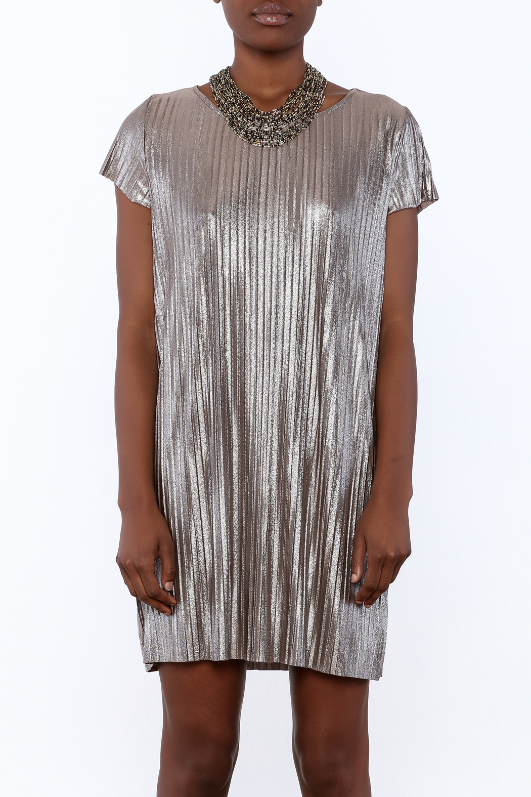 She + Sky Pleated Metallic Dress - Side Cropped Image