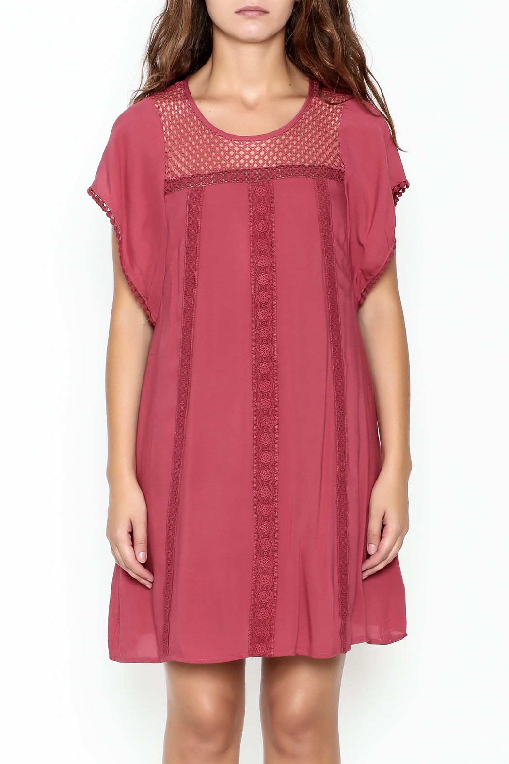 She + Sky Red Lace Tunic - Front Full Image