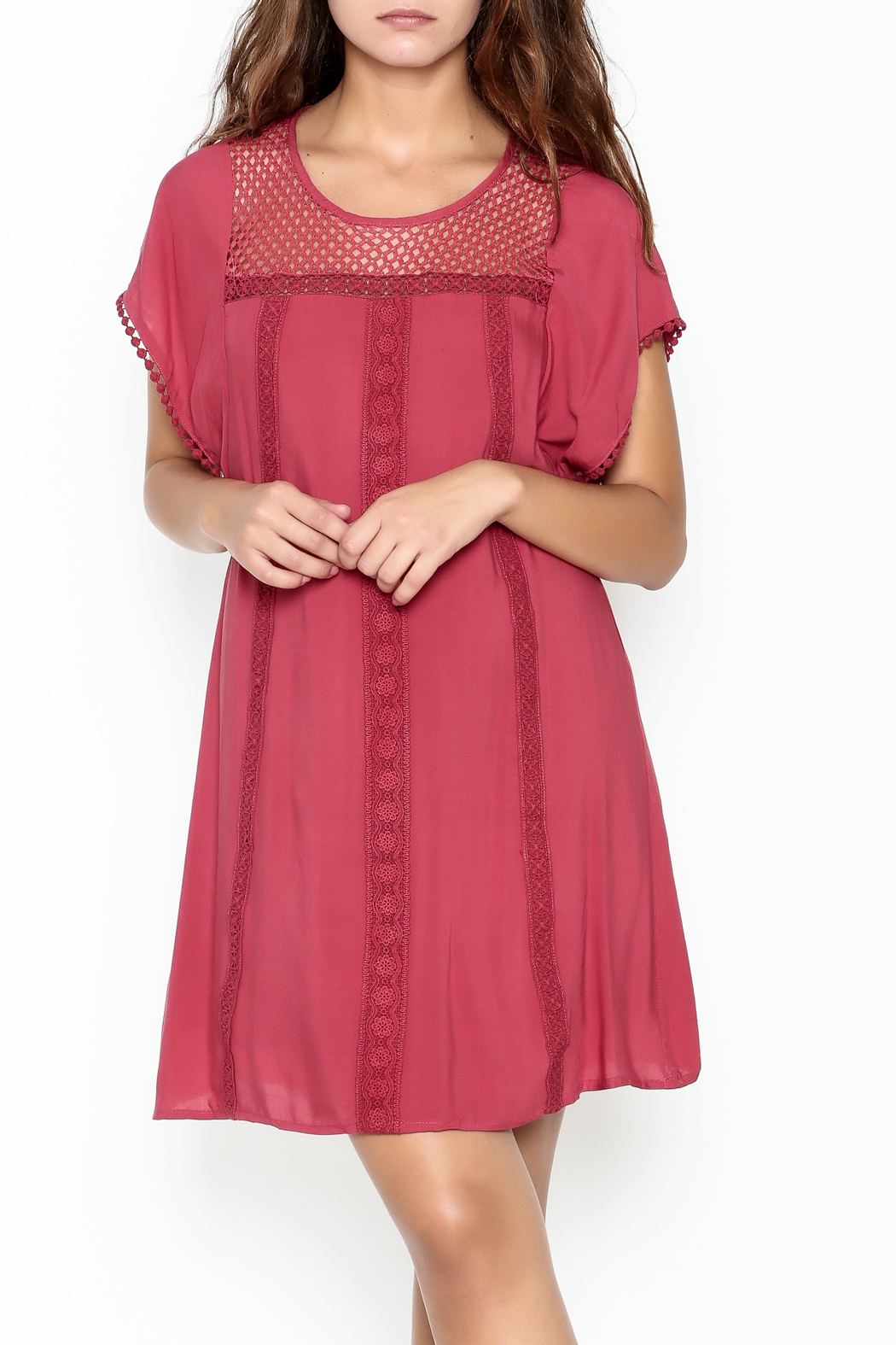 She + Sky Red Lace Tunic - Main Image