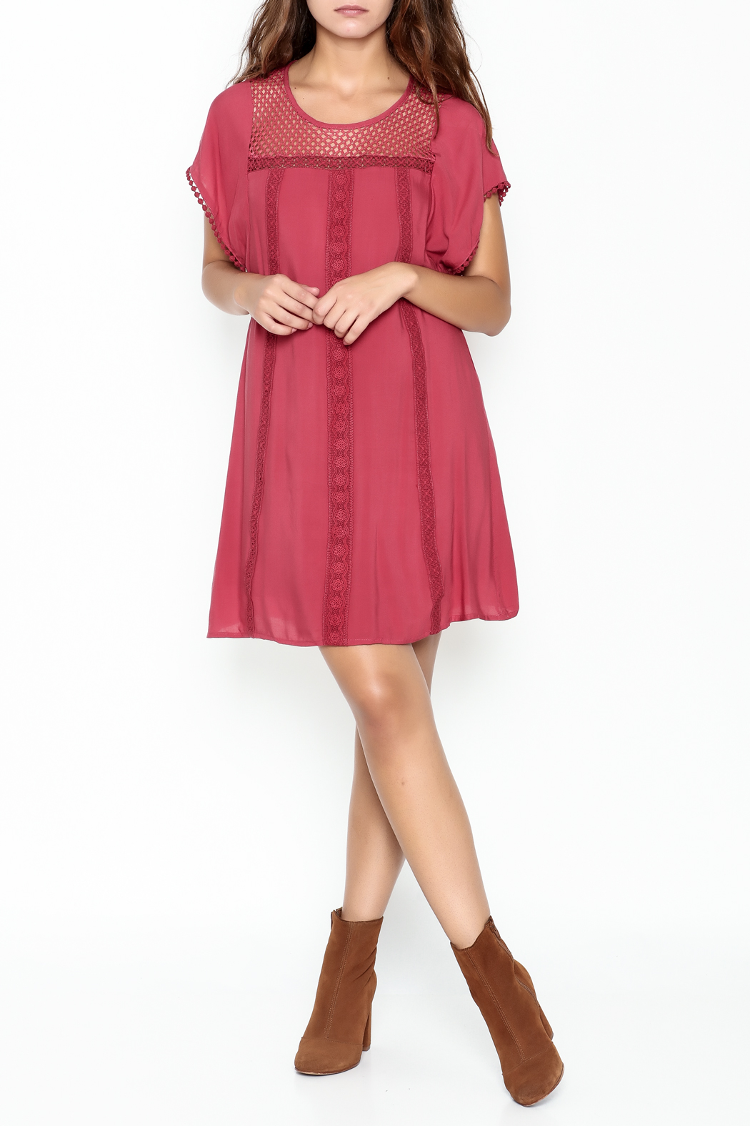 She + Sky Red Lace Tunic - Side Cropped Image
