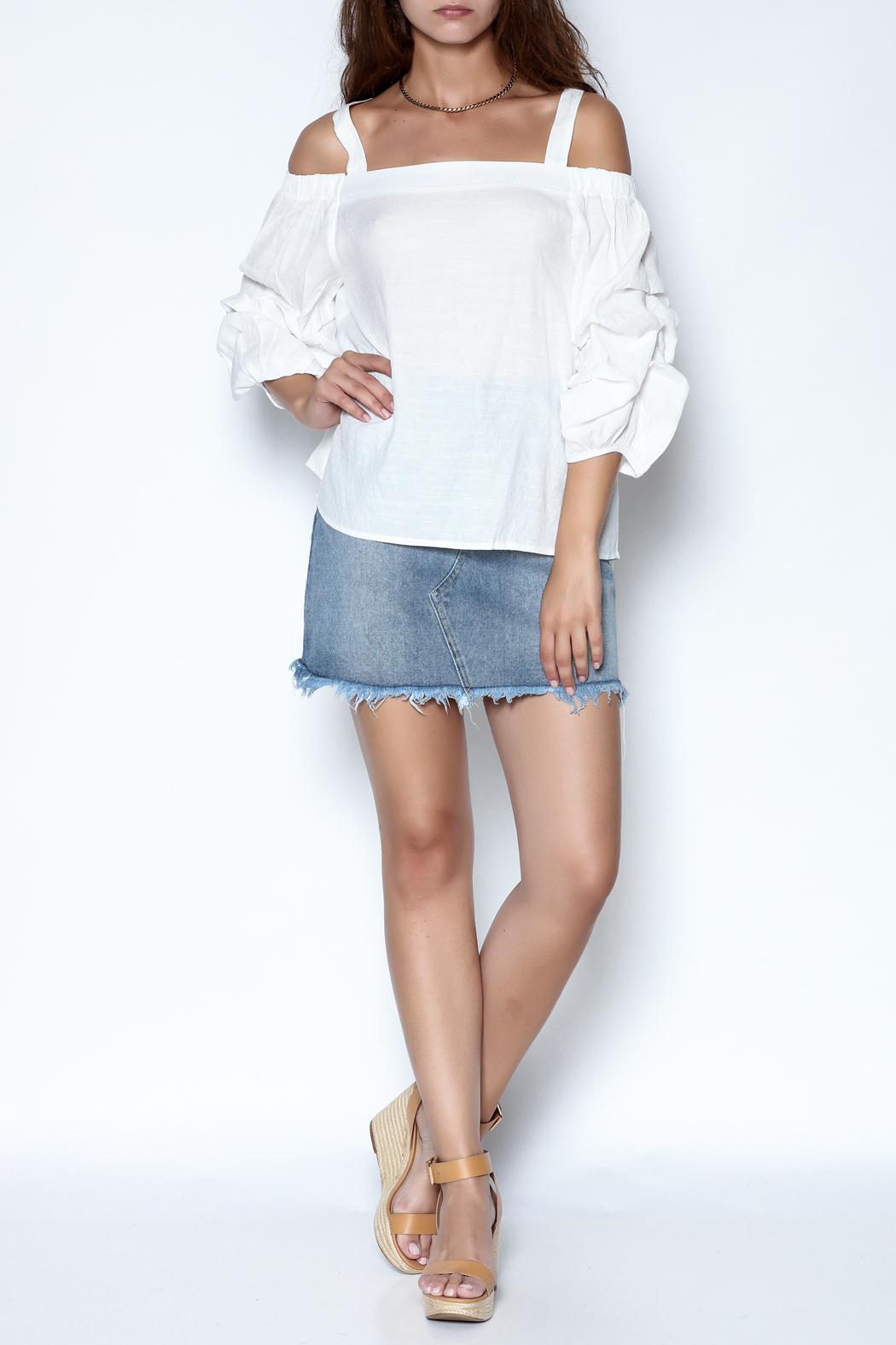 She + Sky Ruched Sleeve Top - Side Cropped Image