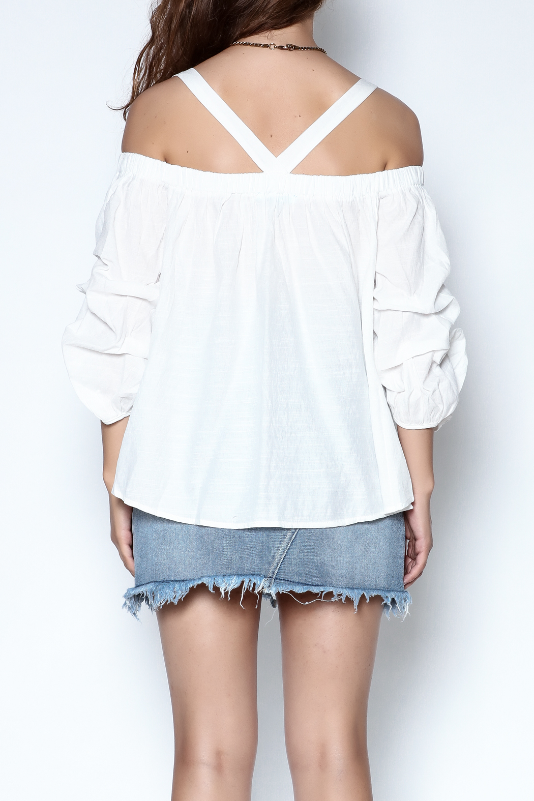 She + Sky Ruched Sleeve Top - Back Cropped Image