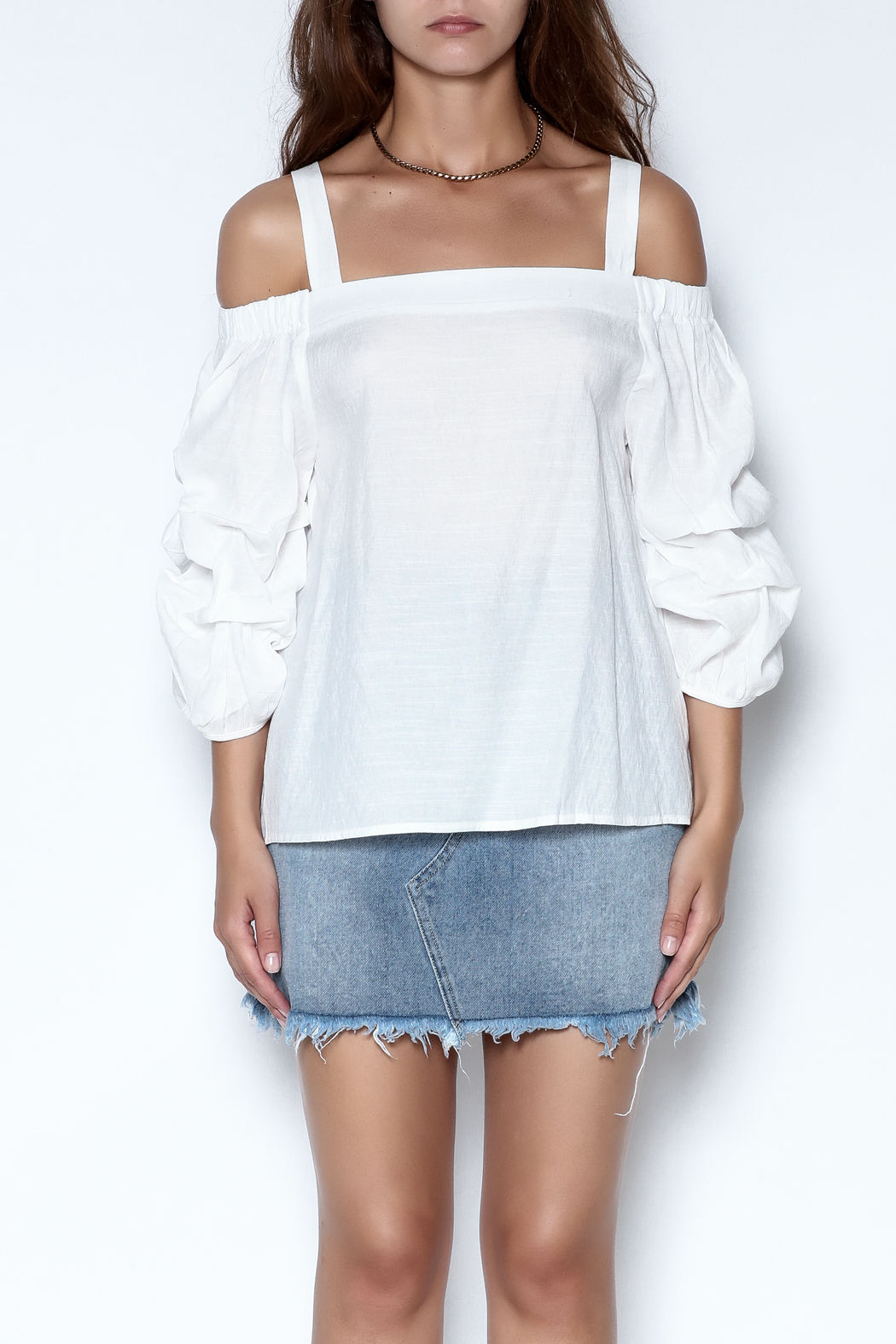 She + Sky Ruched Sleeve Top - Front Full Image