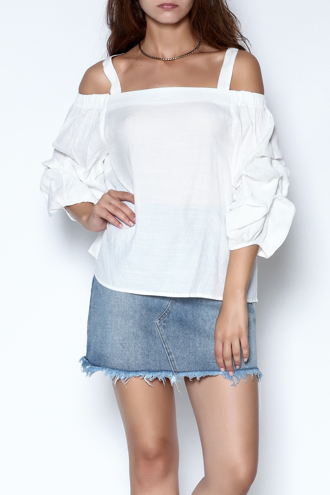 She + Sky Ruched Sleeve Top - Main Image