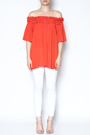 She + Sky Ruffle Off The Shoulder Shirt - Front full body