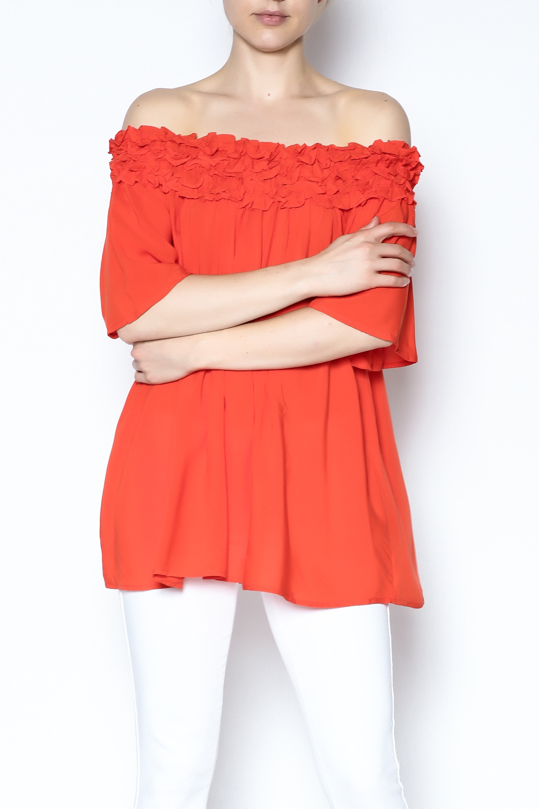 She + Sky Ruffle Off The Shoulder Shirt - Front Cropped Image
