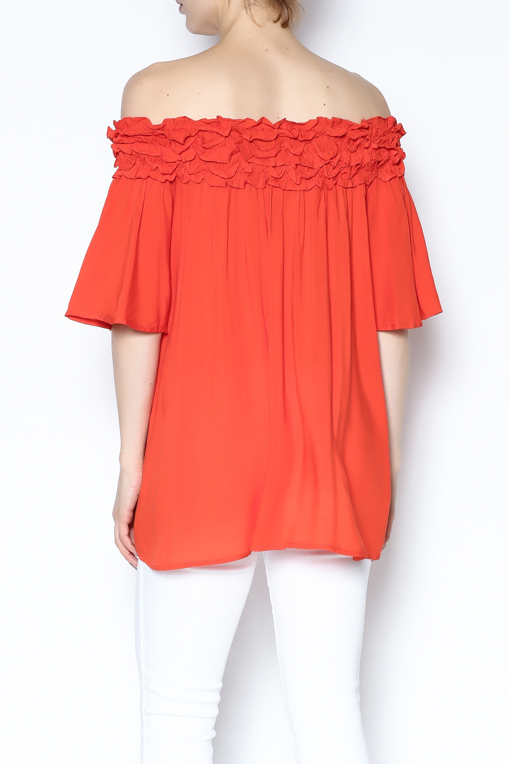 She + Sky Ruffle Off The Shoulder Shirt - Back Cropped Image