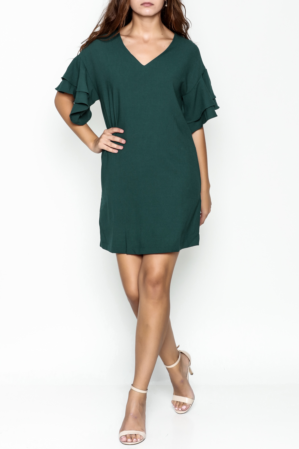 She + Sky Ruffled Sleeve Dress - Side Cropped Image