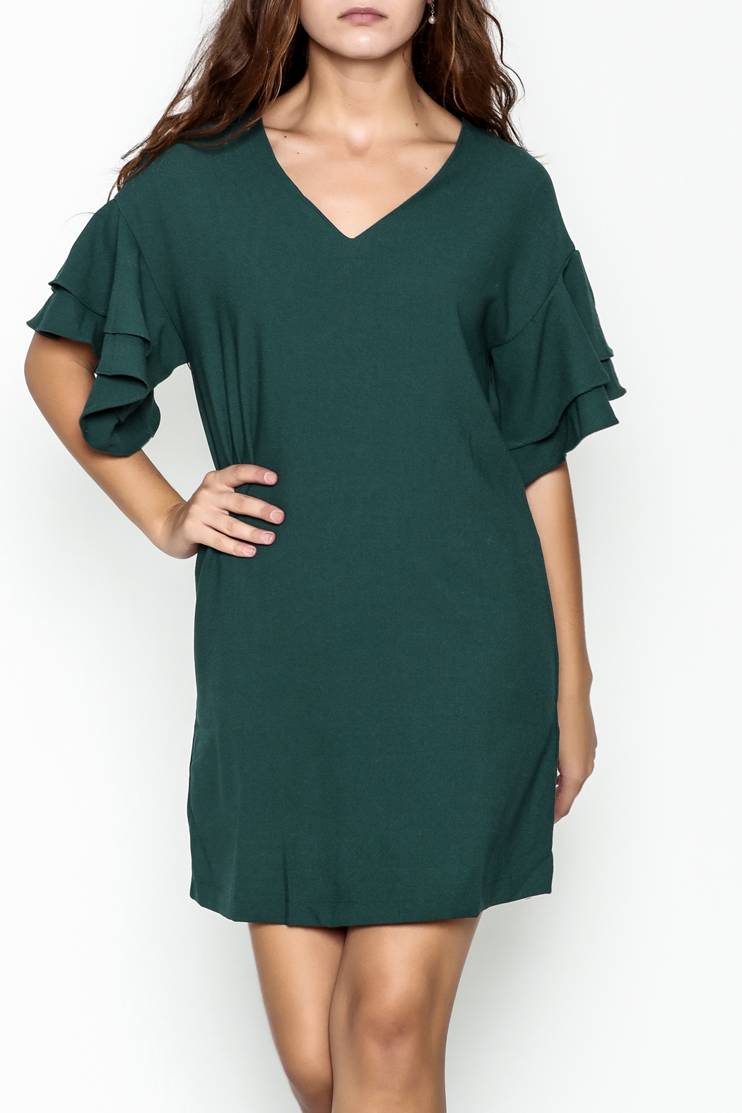 She + Sky Ruffled Sleeve Dress - Main Image