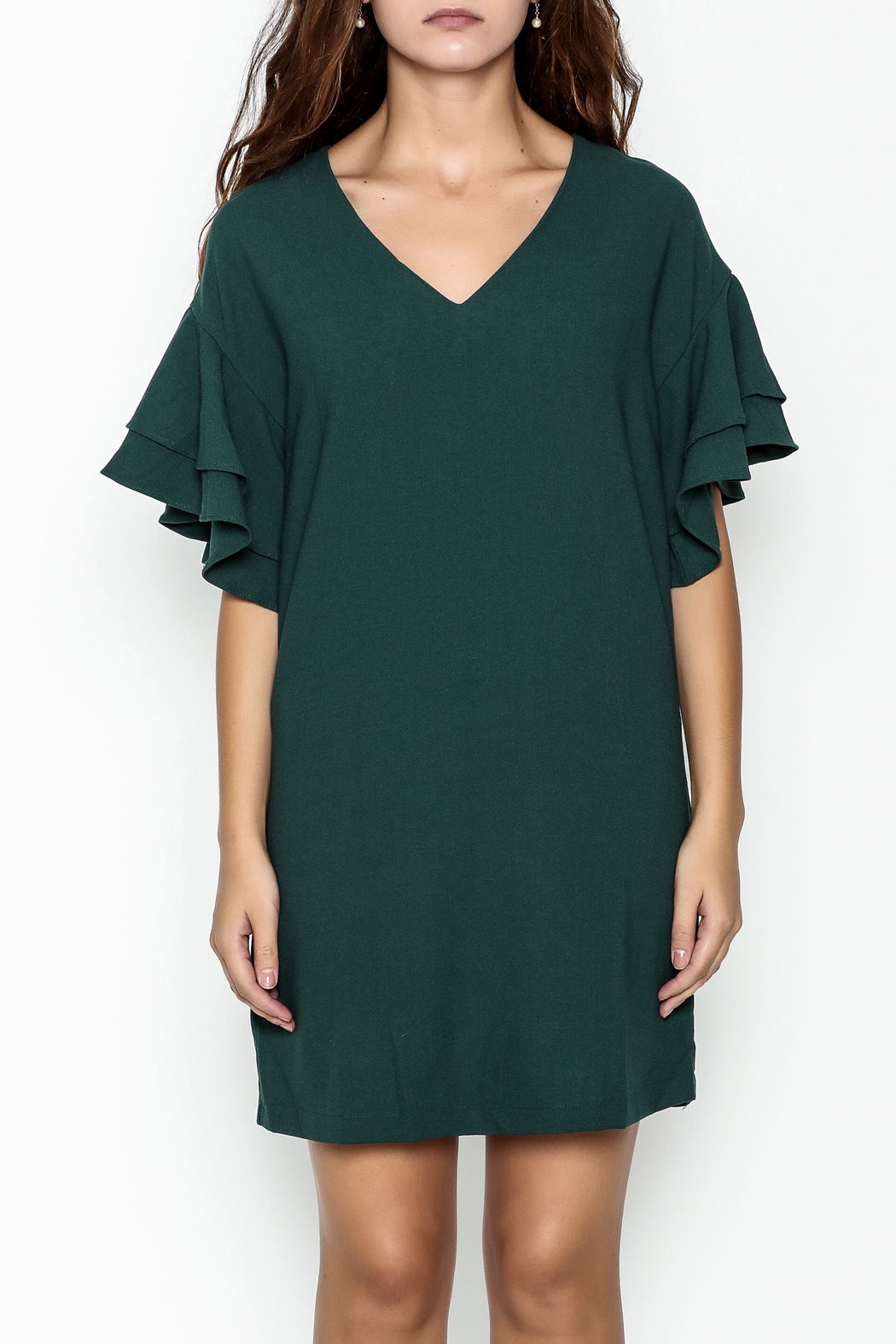 She + Sky Ruffled Sleeve Dress - Front Full Image