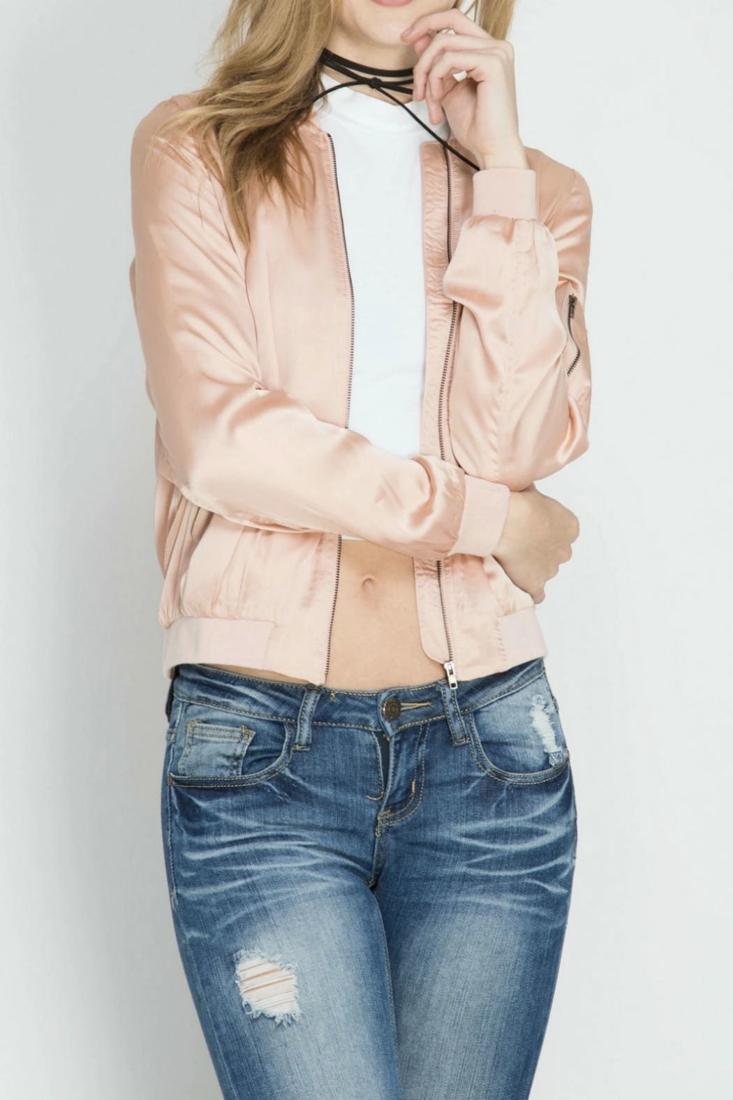 She + Sky Satin Bomber Jacket - Front Cropped Image