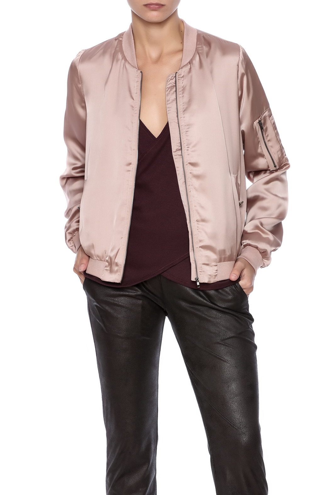 She + Sky Satin Bomber Jacket - Main Image