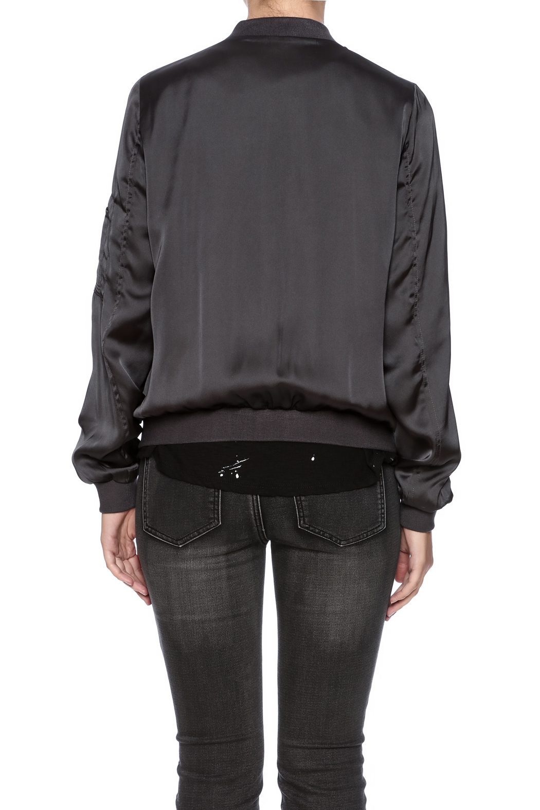 She + Sky Satin Bomber Jacket - Back Cropped Image