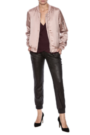 She + Sky Satin Bomber Jacket - Front full body