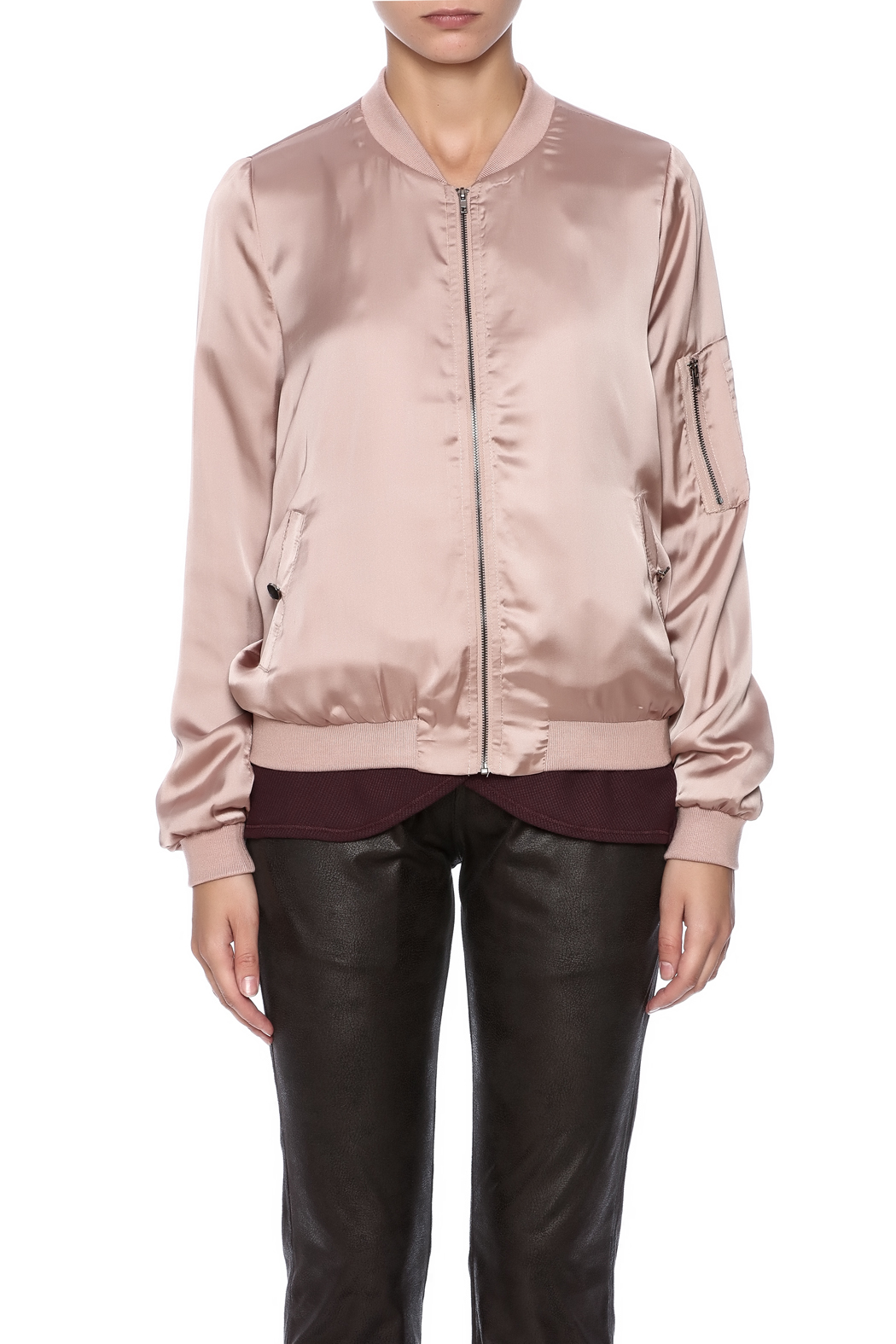 She + Sky Satin Bomber Jacket - Side Cropped Image