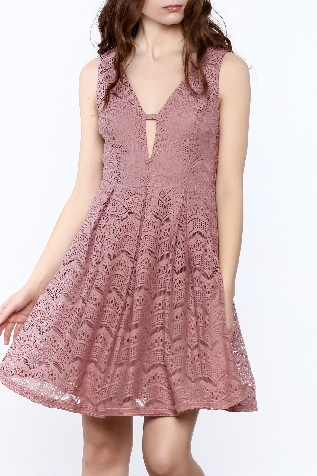 She + Sky Old Rose Lace Dress - Main Image