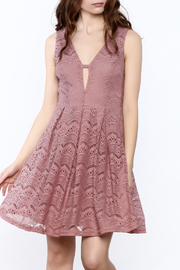 She + Sky Old Rose Lace Dress - Front cropped