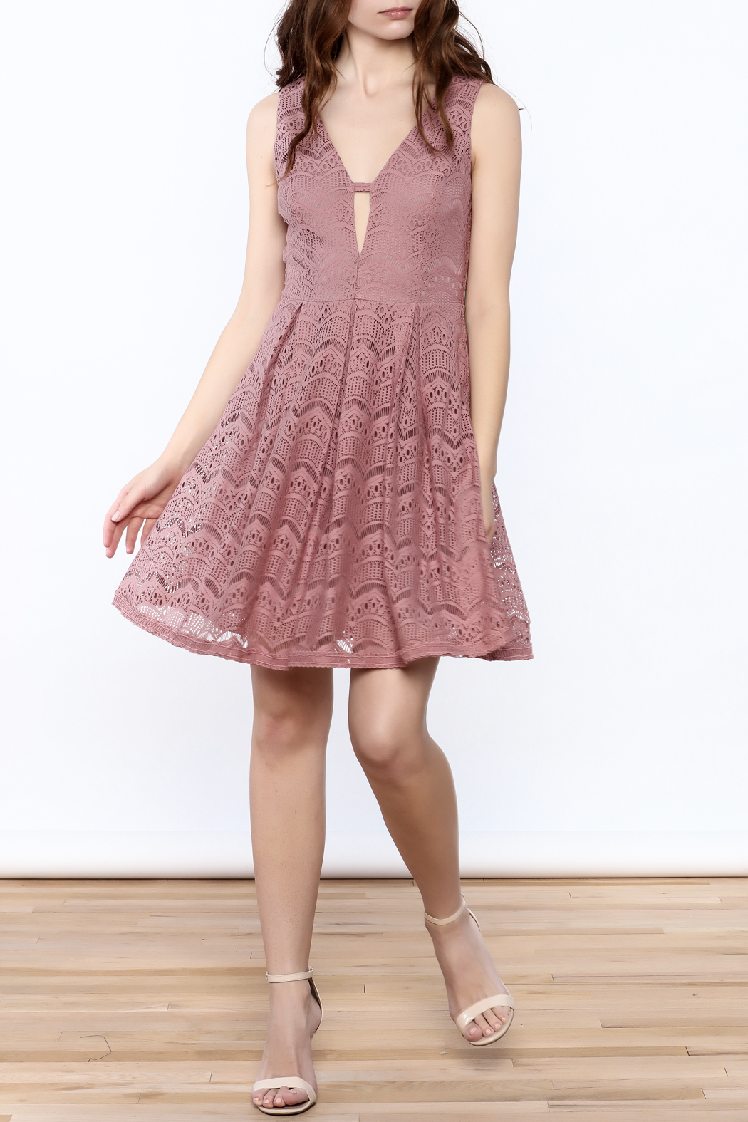 She + Sky Old Rose Lace Dress - Front Full Image