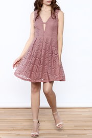 She + Sky Old Rose Lace Dress - Front full body