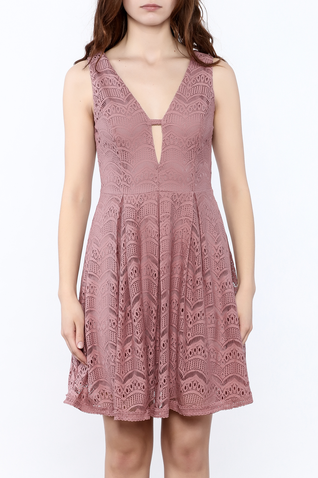 She + Sky Old Rose Lace Dress - Side Cropped Image