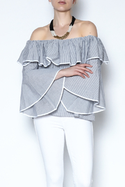 She + Sky Stripe Ruffle Crop Top - Product Mini Image