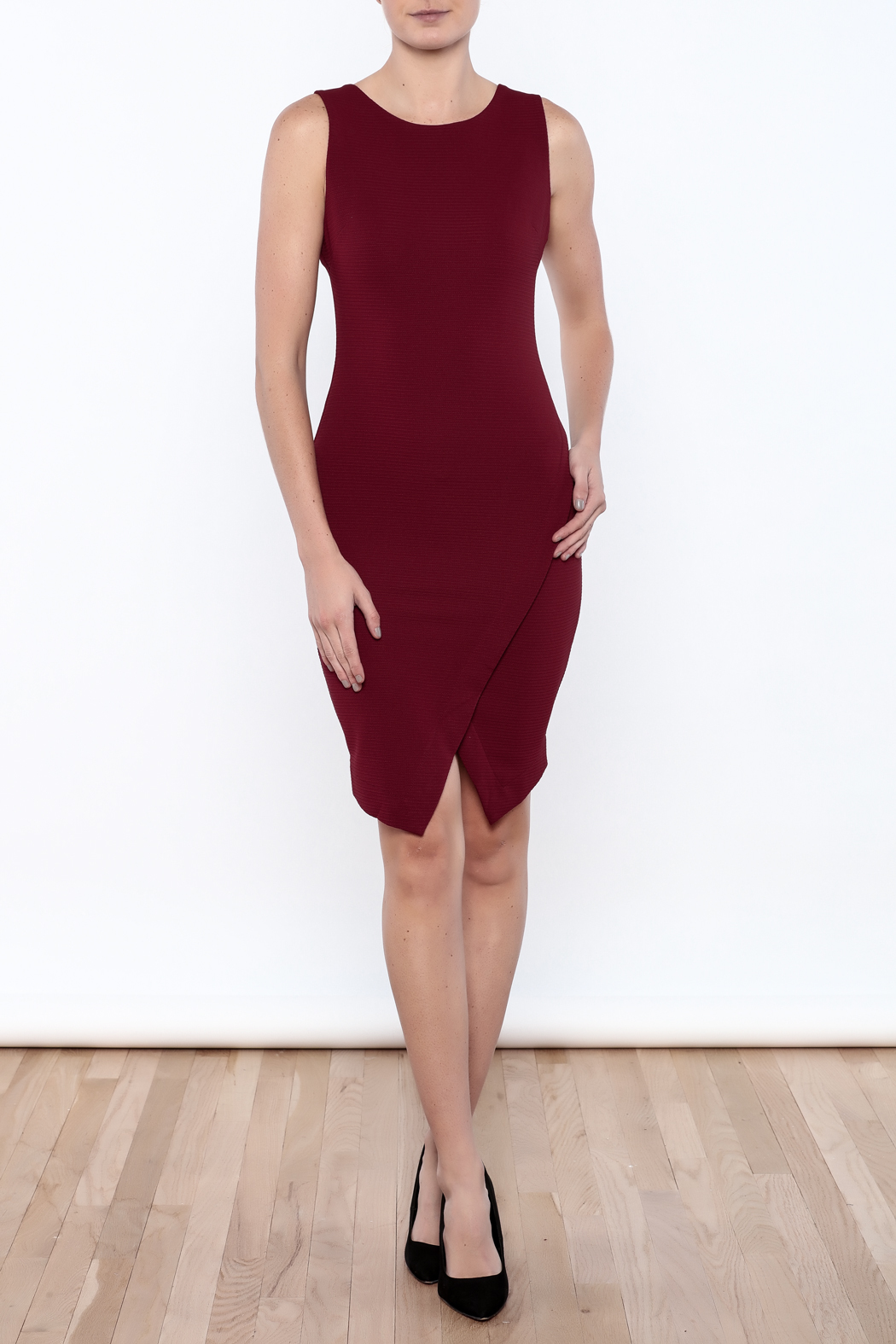 She + Sky Textured Bodycon Dress - Front Full Image