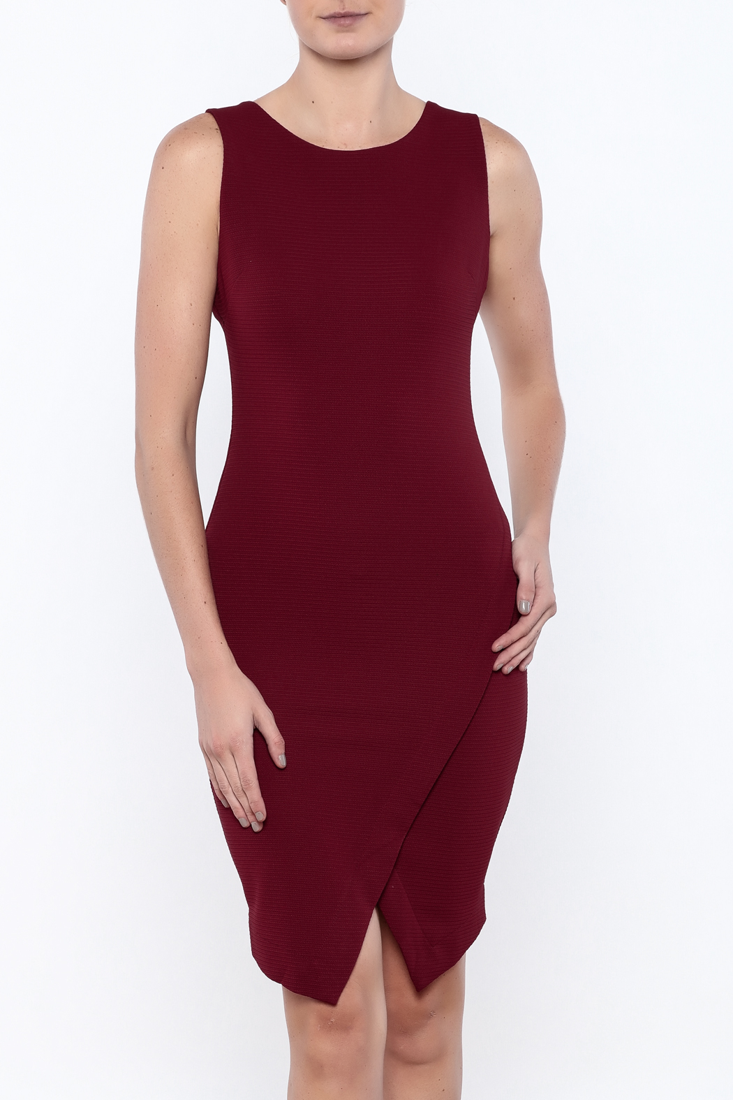 She + Sky Textured Bodycon Dress - Front Cropped Image