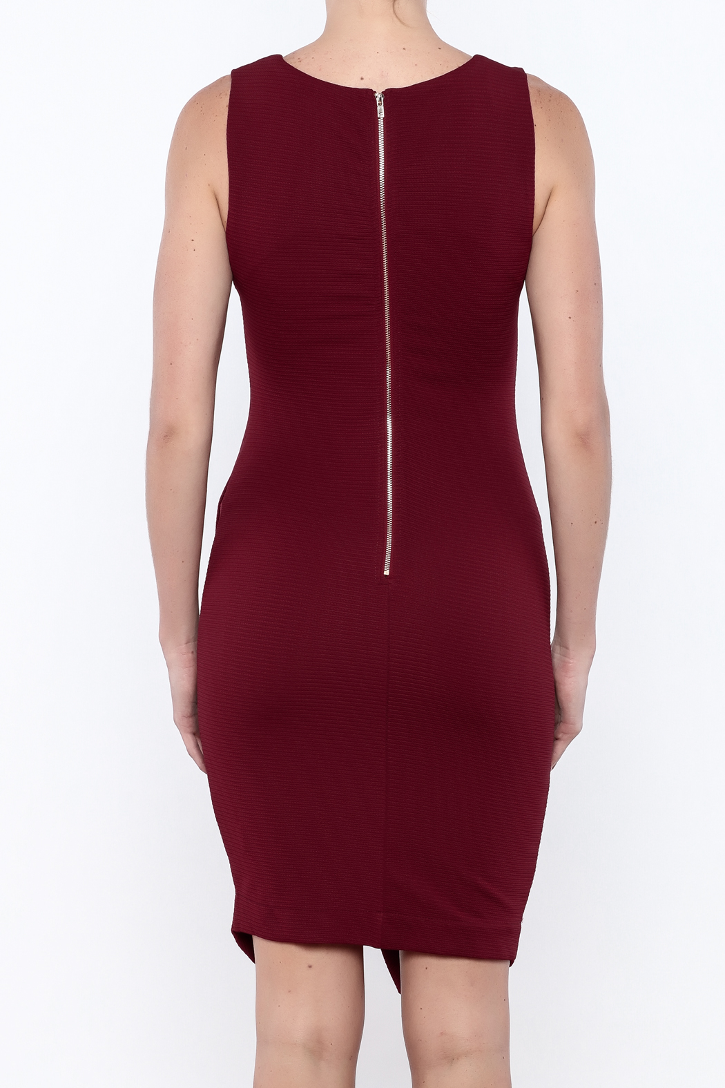 She + Sky Textured Bodycon Dress - Back Cropped Image