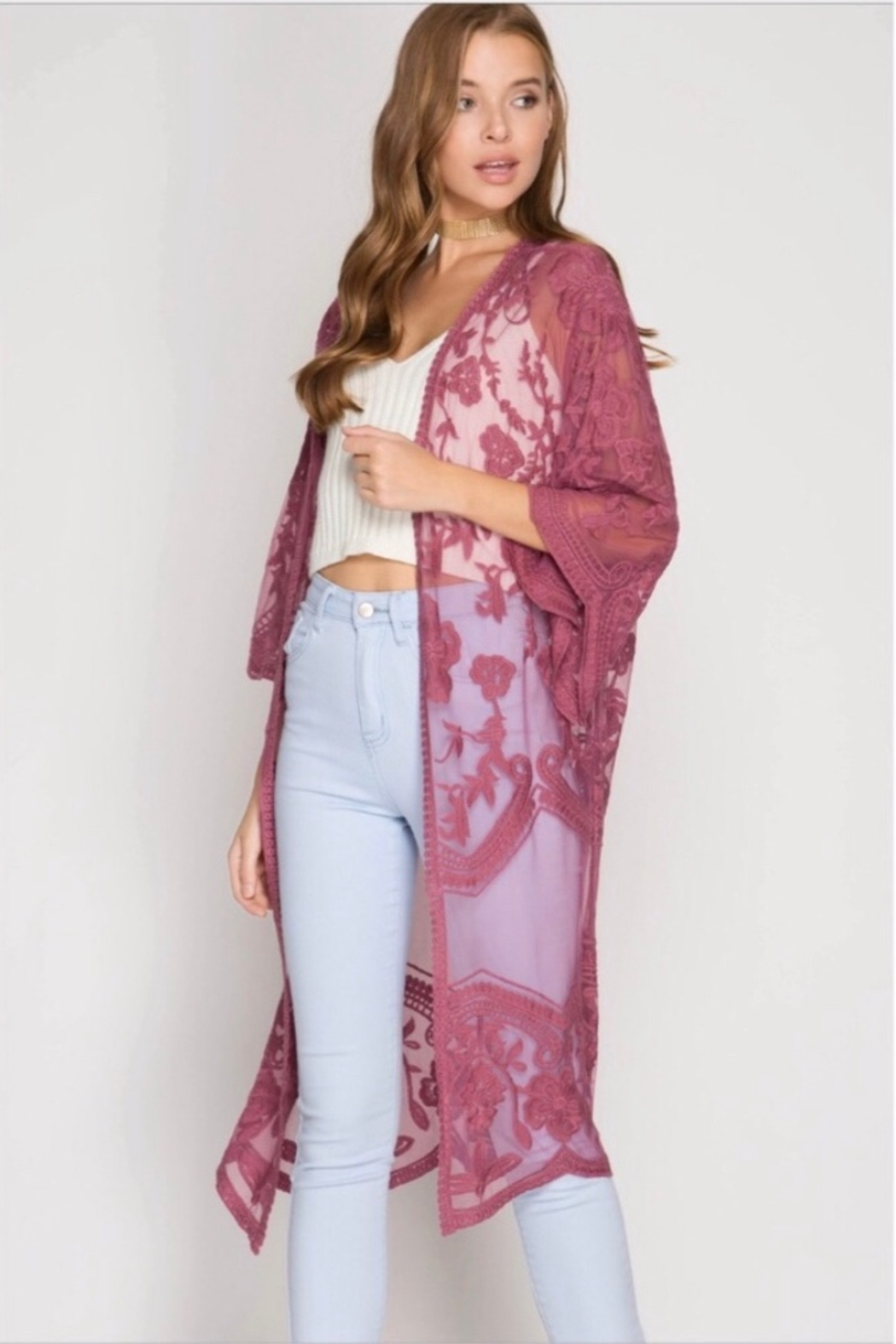 She and Sky Crochet Lace Midi Duster Kimono - Mauve - Front Cropped Image