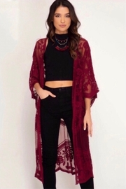 She and Sky Crochet Lace Midi Duster Kimono - Wine - Product Mini Image