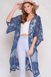 She and Sky Lace Crochet Lace Midi Cardigan Kimono - Blue - Product Mini Image