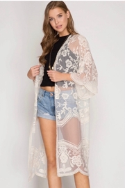 She and Sky She And Sky Lace Crochet Lace Midi Cardigan Kimono - Cream - Product Mini Image