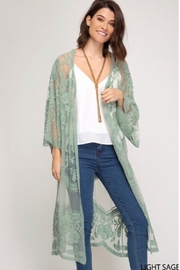 She and Sky Lace Crochet Lace Midi Cardigan Kimono - Light Sage - Product Mini Image