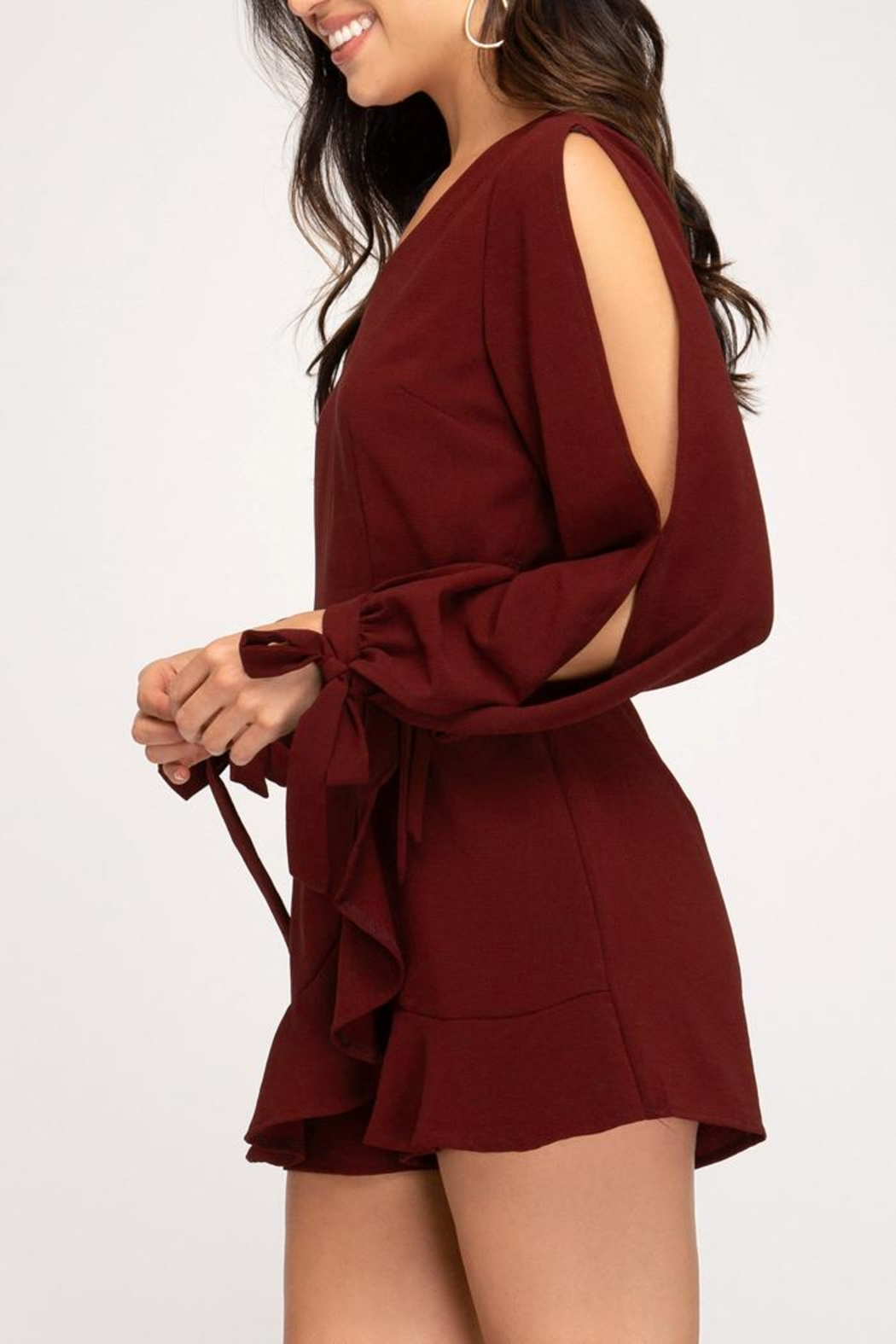 she+sky Burgundy Faux-Wrap Romper - Side Cropped Image