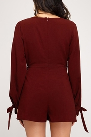 she+sky Burgundy Faux-Wrap Romper - Other