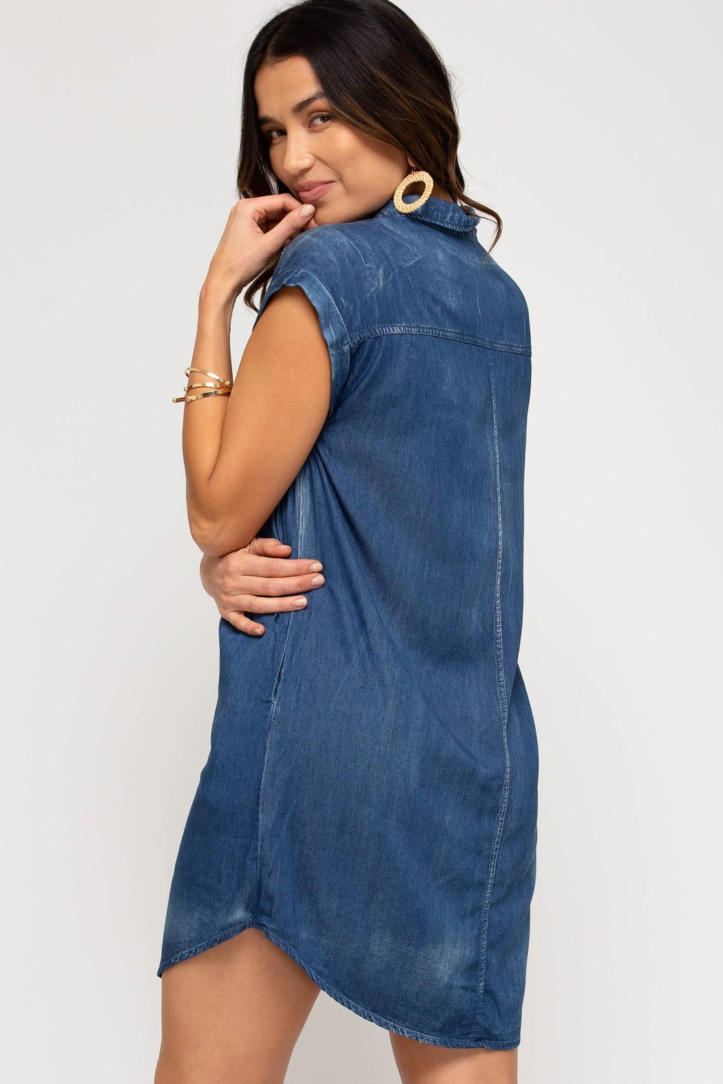 she+sky Button-Down Chambray-Shirt-Dress - Front Full Image