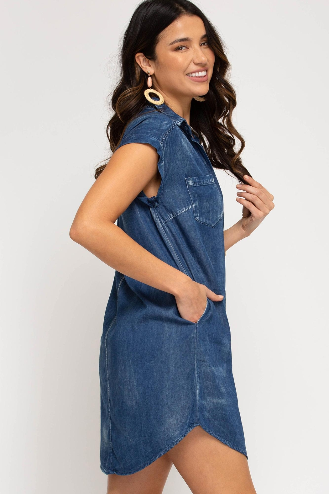 she+sky Button-Down Chambray-Shirt-Dress - Side Cropped Image