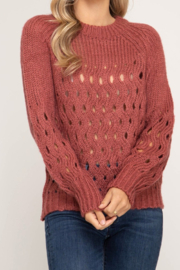 She + Sky She & Sky chunky Rust open weave sweater with holes - Product Mini Image