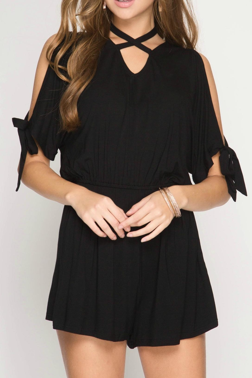 f2c28e8987ca She + Sky Cold Shoulder Romper from Massachusetts by Moxy Boutique ...