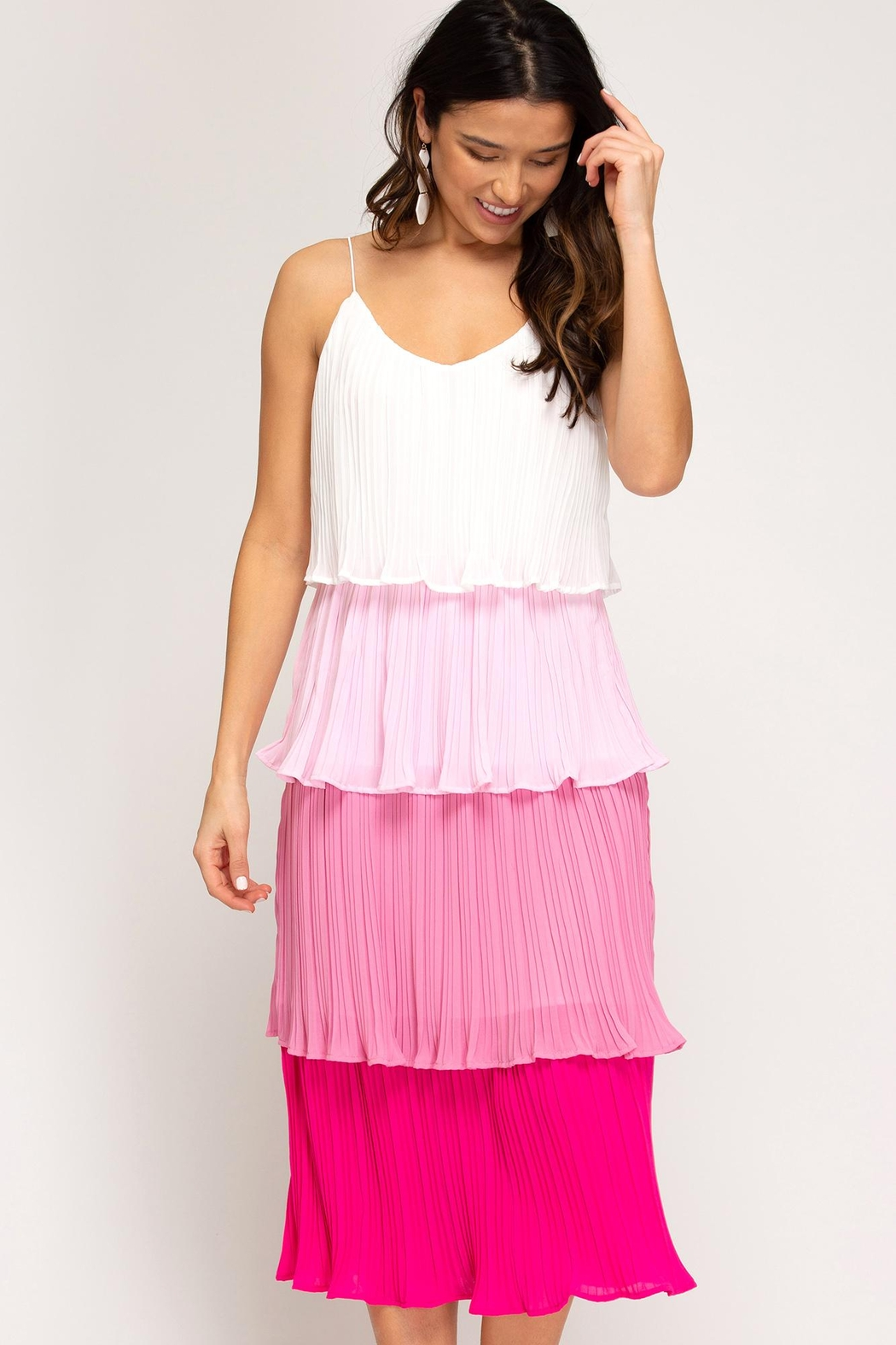 she+sky Color-Block Tiered Dress - Main Image