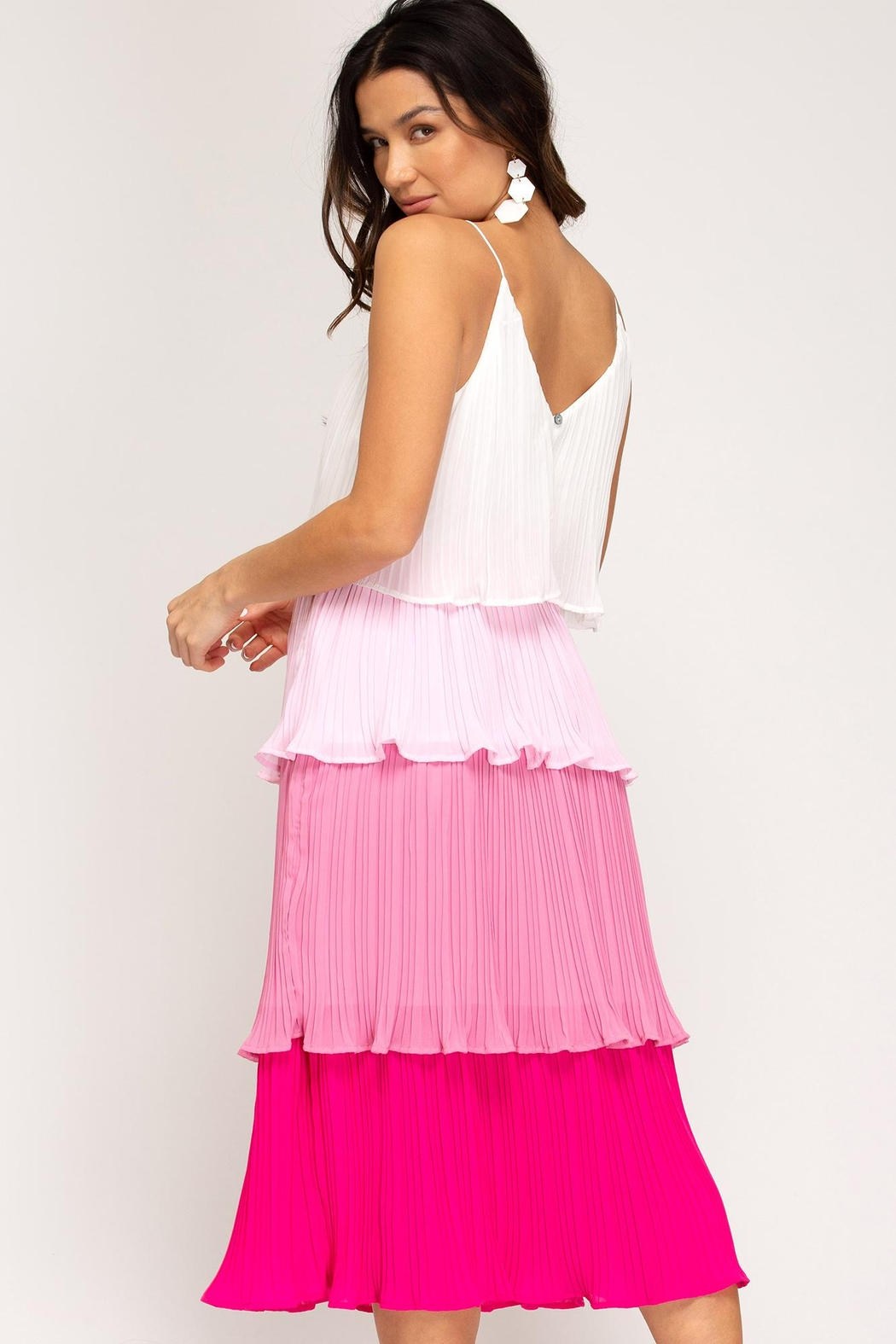 she+sky Color-Block Tiered Dress - Front Full Image