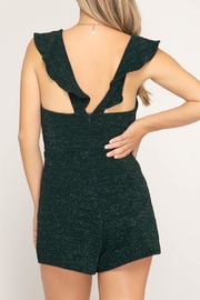she+sky Emerald Sparkle Romper - Front full body